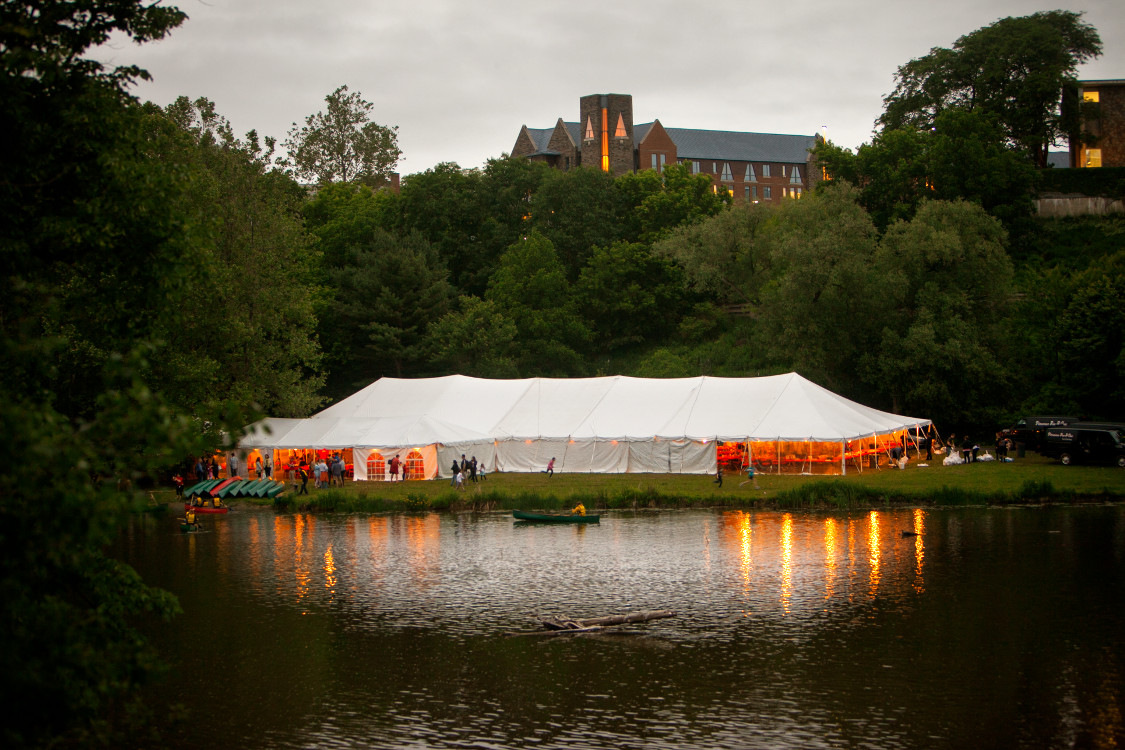 Image of large party tent set up at CU